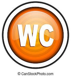 wc orange glossy icon isolated on white background