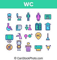 WC, Public Bathroom, Toilet Vector Linear Icons Set