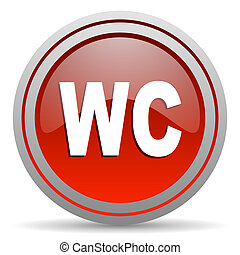 wc red glossy icon on white background