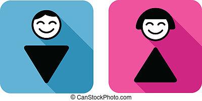 wc, sign., человек, and, женщина