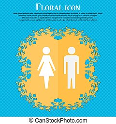 WC sign icon. Toilet symbol. Male and Female toilet. Floral flat design on a blue abstract background with place for your text. Vector