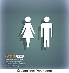 WC sign icon. Toilet symbol. Male and Female toilet. On the blue-green abstract background with shadow and space for your text. Vector