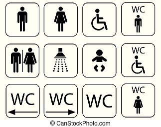 wc sign icons , toilet and restroom symbol set -