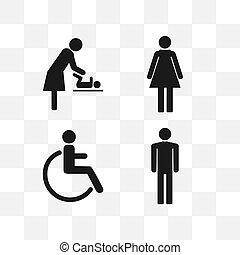 WC symbols, toilet sign, icon set. Vector illustration, flat design