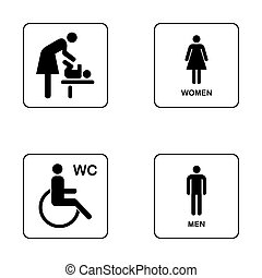 WC / Toilet door plate icon set. Men and women WC sign for restr