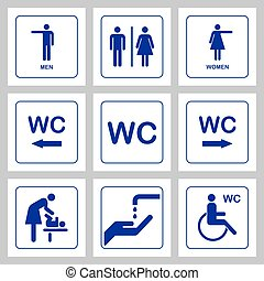 WC / Toilet door plate icons set. Men and women WC sign for rest