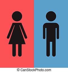 WC, toilet flat vector icon . Men and women sign for restroom