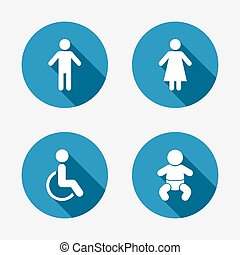 WC toilet icons. Human male or female signs. Baby infant or ...