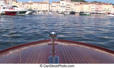 wchodzenie, łódka, port