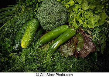 wciąż, warzywa, zielone tło, życie