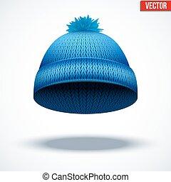wełniany, błękitny, zima, ilustracja, trykotowy, cap., wektor, sezonowy, hat.