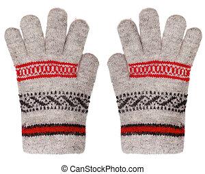 wełniany, białe rękawiczki, odizolowany, tło