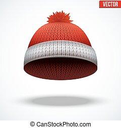 wełniany, sezonowy, zima, błękitny, ilustracja, trykotowy, cap., wektor, hat., czerwony