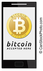 We accept bitcoins. Golden bitcoin virtual currency on mobile phone.