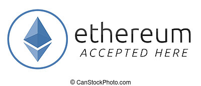 We accept ethereum. Blue ethereum virtual currency.