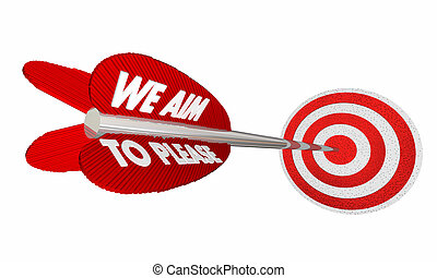 We Aim to Please Arrow Target Bulls Eye 3d Illustration