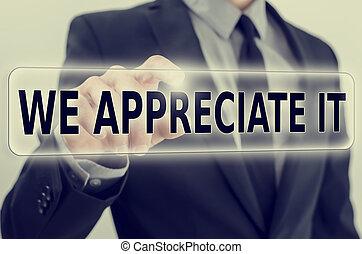 We Appreciate It feedback icon on a virtual screen -...