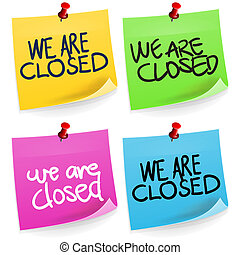 We are Closed Sticky Note