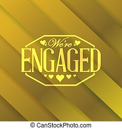 we are engaged stamp gold card background