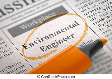 We are Hiring Environmental Engineer.