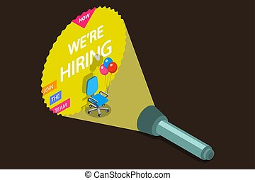 We are hiring flat isometric vector concept.
