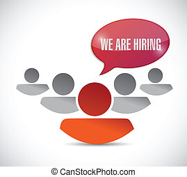 we are hiring message and team. illustration