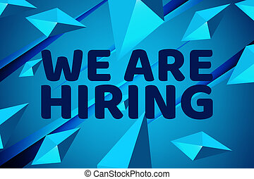 We are Hiring Poster or Banner Design. Job Vacancy Advertisement Concept on blue background