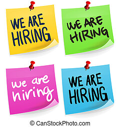 We Are Hiring Sticky Note - Traditional office paper sticker...