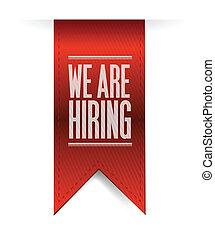 we are hiring textured banner illustration design over white