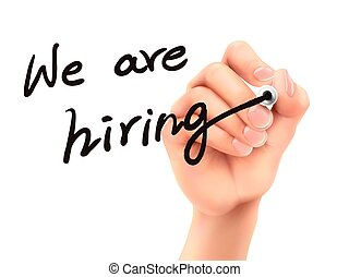 we are hiring words written by hand