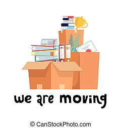 We are moving concept. Office cardboard boxes with stuff, documents folders, plant, goblet cup. Moving into a new office. Flat style vector illustration.