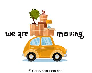 We are moving lettering concept. Smallyellow car with boxes ...