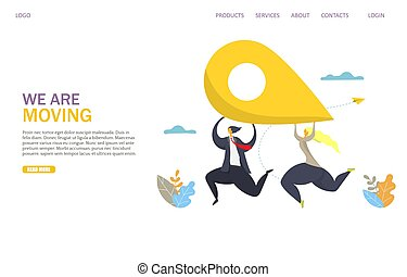 We are moving vector website landing page design template - ...