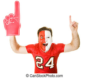 We Are Number One - Enthusiastic sports fan with foam finger...