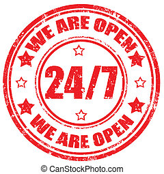 We Are Open-stamp - Grunge rubber stamp with text We Are...