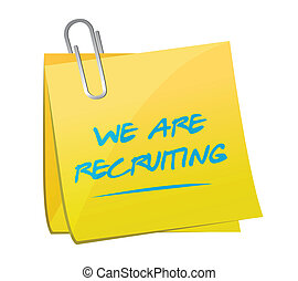 we are recruiting memo message illustration design over a white background