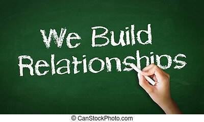 We Build Relationships Chalk Illustration - A person drawing...