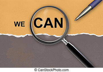 we can and magnifying glass