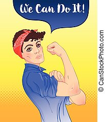 We can do it. Design inspired by classic vintage feminist poster. Woman empowerment. Vector Illustration in cartoon style. Girl with short hair her fist raised up.
