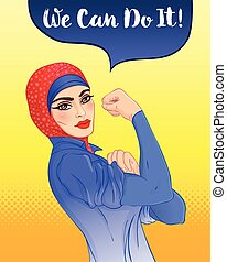 We can do it. Design inspired by classic vintage feminist poster. Woman empowerment. Vector Illustration in cartoon style. Muslim hijab girl with her fist raised up.