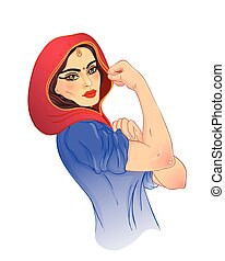 We can do it. Design inspired by classic vintage feminist poster. Woman empowerment. Vector Illustration in cartoon style. Indian girl with her fist raised up.