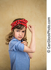 We can do it. Symbol of girl power and feminism concept