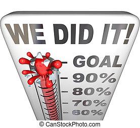 We Did It Thermometer Goal Reached 100 Percent Tally - We...