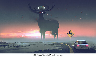 a legendary creature concept showing a car running into animal zone, the giant deer with glowing halo on the road, digital art style, illustration painting