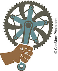 We got the power badge illustration with a bike chainring...