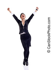 we have a winner! - picture of a very happy businesswoman...