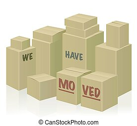 We Have Moved Symbol Moving Boxes