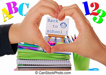 we love back to school - back to school concept with heart...