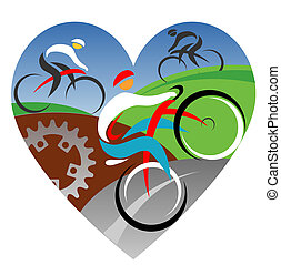 We love cycling - Three stylized cyclists in heart shaped...