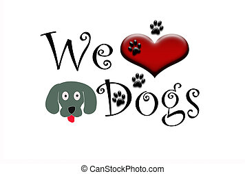 We Love Dogs Text with one Dog Cartoons faces